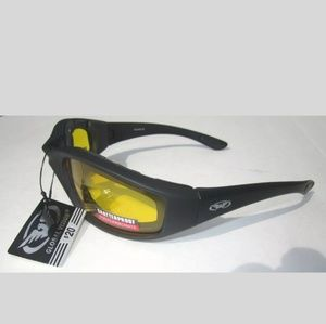 Padded yellow motorcycle glasses weekend warrior